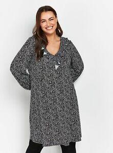 Evans Womens Multi Coloured Ditsy Print Jersey Dress Long Sleeve V-Neck Short