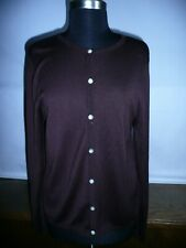 TALBOTS Woman 100% Silk Open Front Cardigan Sweater Size 14  Brown