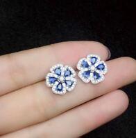 3Ct Pear Cut Halo Stud Earrings Tanzanite Diamond  14K White Gold Finish