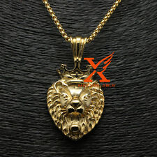 "Hot Sale Mens Gold Plated  Samll Lion Head Pendant Necklace 3MM 24"" BOX CHAIN"