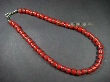 N3779 Red Coral Color Bone Beaded Choker Surfer Necklace Handmade Fashion TIBET