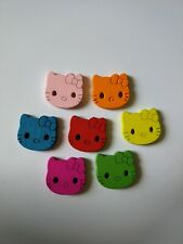 Wooden Large Hello Kitty Buttons mixed colours Cat Girl Baby Jumper Cardigan