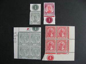 Malaya states 4 MNH plate singles check them out!