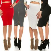 Pencil Skirt Soft Knit With Full Back Zip KouCla- Black, Red, Blue, Pink & White