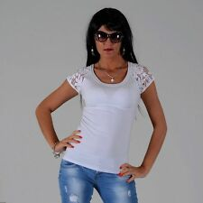 Figurbetonte Kurzarm Damenblusen, - tops & -shirts mit Spitze