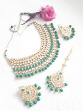 New Indian Bollywood Costume Jewellery Choker Set  Pearl Gold Green Silver Stone