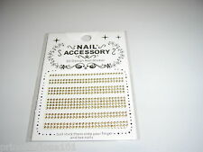 3D French Nail Tip Art stickers decals Wrap Dogtooth studs  Gold