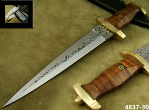 CUSTOM HANDMADE ACID ETCH STEEL DOUBLE EDGE SWISS DAGGER HUNTING KNIFE (4837-30
