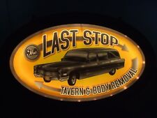 The Last Stop Tavern & Body Removal Lighted Bar Sign Man Cave Decor Halloween