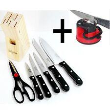 [Kitchen Flower] 7pcs Knife set Including Wood Knife Block + Knife sharpener