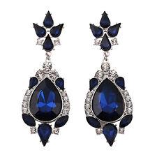 Boucles d`Oreilles  Art Déco Goutte Bleu Foncé Class Rétro Mariage Cadeau CC 2