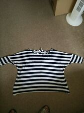 New Look Boat Neck White With Blue Stripes Top. UK Size 10. (Will fit sz12)