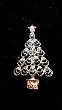 Vintage Bj Blue Rhinestone Christmas Tree Signed Pin Free Shipping