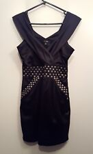 Ladies Size 8 Black Shinny Sleeveles Party Clubbing Cocktail Dress