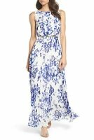 Eliza J Blue White Floral Print Chiffon Pleated Maxi Dress Size 6 Sleeveless