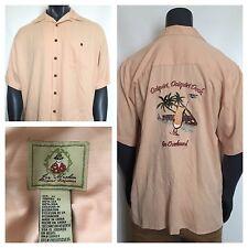 Joe Marlin Hawaiian Casual Shirt Wood Buttons Peach/Light Orange (Size XL)
