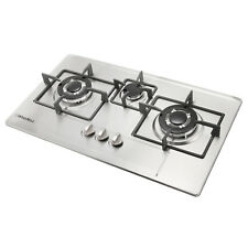 "Windmax Stainless Steel 28.3"" Built-In  3 Burners Gas Cooktop LPG NG Gas Hob"