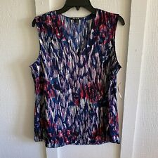 Nic + Zoe Womens Tank Top Large Blue Abstract Printed Sleeveless V Neck Blouse L