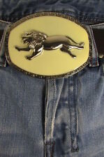 "Buckle Fashion 4""/3"" Big Silver Metal Western Running Lion Cream Background"