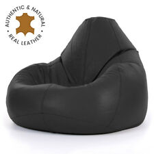Icon® Luxury Real Leather Bean Bag - XX Large Recliner Chair - Onyx Black