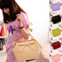Women Bowknot Handbag Sweet Messenger Shoulder Bag Clasp Tote Purse Candy Color