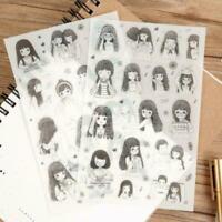 6x Das tägliche Leben der Mädchen Sticker Kawaii Set Scrapb Rose Q2P9 Album M9X6