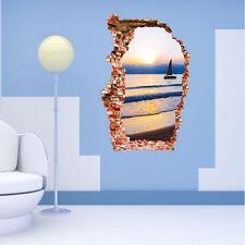 3D Mare Tramonto Spiaggia Vista Arte In Vinile Rotto Da Muro, Decalcomania