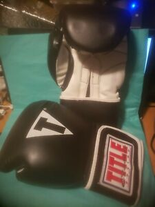 Title Boxing Classic Max Hook and Loop Boxing Gloves - Black 14oz