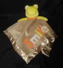 CARTER'S SECURITY BLANKET BABY FROG SMILE RATTLE STUFFED ANIMAL PLUSH TOY LOVEY