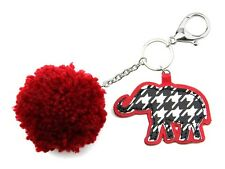 Houndstooth Elephant and Red Ball Keychain