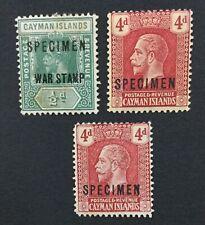 MOMEN: CAYMAN ISLANDS SG #57s,62s(2) SPECIMEN MINT OG H/2NG LOT #191628-328