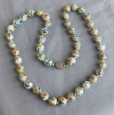 Vintage Knoted Chinese Enamel Closionne Bead Necklace Filigree Clasp