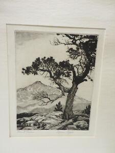 "LYMAN BYXBE ""MOUNT MEEKER"" Colorado Artist & Printmaker Original Signed Etching."