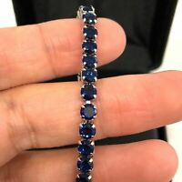 Handmade Round Blue Sapphire Bracelet Women Wedding Jewelry 18K Gold Plated