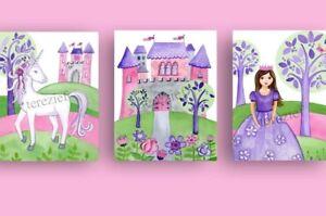 Pink and Purple Princess and Unicorn Art Prints for Nursery Playroom or Bedroom