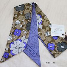 NWT COACH MULTI Purple Daisy Floral Flower Silk Ponytail Pony Tail Scarf NEW