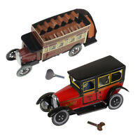 2X Wind Up Vintage Taxi+Omnibus Models Kids Clockwork Toy for Birthday Gifts