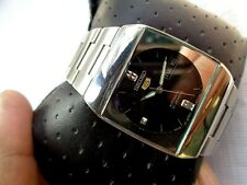 Dial Seiko 5 Japan Automatic Wristwatch Vtg Mens Ss Rectangle Case Tv Black