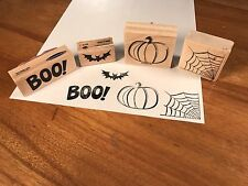 4 Wooden Ink Stamps Halloween Themed
