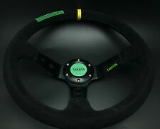 350mm Suede Leather Deep Dish Steering Wheel Drifting Race OMP YL Stripe Takat