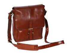 Mens Genuine LEATHER Crossbody Bag Chestnut Ipad Casual Flight Messenger BAG NEW