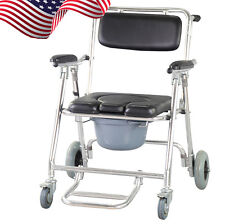 Mobile Commode Chair with 4 brakes, Wheels & Footrests Wheelchair Toilet 【USA】