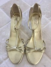 WOMENS, MILANA STRAPPY WEDGE SHOES, SIZE 37, ALL LEATHER, GOLD, OCCASION/PARTY