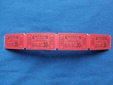 Vintage 30 Cent Empress Theatre Tickets (Strip of 4) Drive-In Movie/Cinema - IA