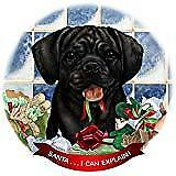 Puggle Black Dog Porcelain Ornament Pet Gift 'Santa. I Can Explain!'