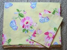 Pottery Barn Kids Yellow Pink ButterflyTwin Duvet Cover 1 Std Sham Cotton Floral