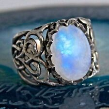 925 Sterling Silver men's ring with Rainbow Moonstone unique handcrafted jewelry