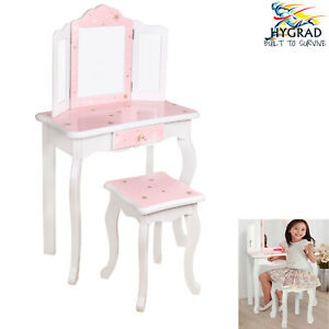 Wooden Kids Dressing Table &Stool Set Beauty W/ Mirror Drawer Best Gift For Xmas