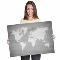 A2 Wooden Earth Map Global Travel Poster 59.4X42cm280gsm bw #36860