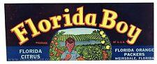 25 FLORIDA BOY Vintage, Weirsdale *AN ORIGINAL CITRUS CRATE LABELS* Wholesale
